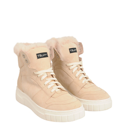 Sir Biss Leather and faux fur high sneaker, sand, 39 EU
