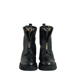 Fiaba Biker ankle boot in leather with zip and jewel stones, black, 38 EU