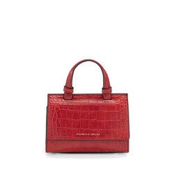 Mago Merlino Small handbag with crocodile print, red
