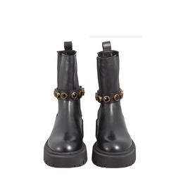 Incantesimo Beatles ankle boot in leather with jewel stones, black, 38 EU
