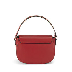 Lampone Tumbled leather crossbody bag with flap, dark red