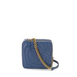 Regina Di Cuori Small quilted leather crossbody bag, avio blue