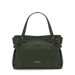 Sottobosco Leather tote bag with decorative bows, green
