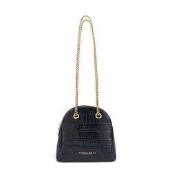 Tic-Tac Chain leather crossbody bag with crocodile print, blue