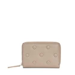 Button Wallets Medium leather wallet with quilted logo, mud