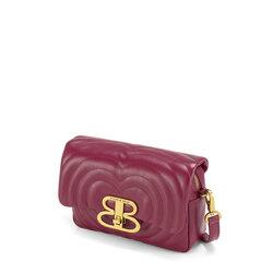Regina Di Cuori Quilted leather crossbody bag with flap, plum