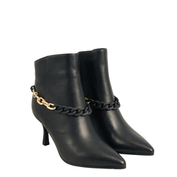 Aristogatti Leather high-heeled ankle boot with chain, black, 36 EU