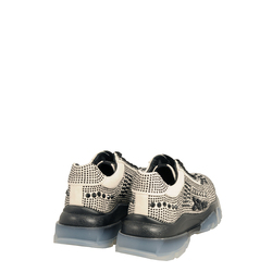 Sirenetta Sneaker with transparent sole and jewel stones, grey, 36 EU