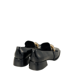 Baloo Leather loafer with square toe and fringes, black, 41 EU