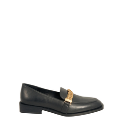 Barbablu Leather loafer with chain, black, 36 EU
