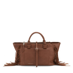 Re Leone Large handbag with fringes, leather