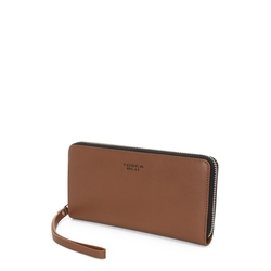 Basic Wallets Large leather wallet with logo, brown
