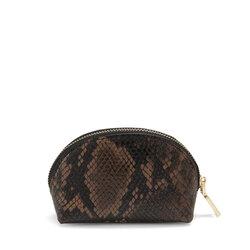 Libro Della Giungla Make-up bag with snakeskin print , dark brown