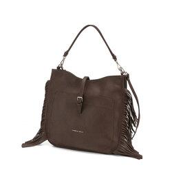 Re Leone Shoulder bag with fringes, dark brown