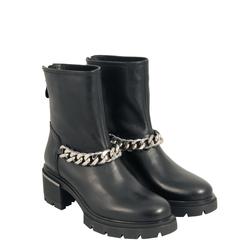 Gnomo Leather medium-heel ankle boot with chain, black, 37 EU