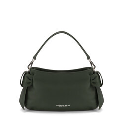 Sottobosco Small leather crossbody bag with decorative bows, green