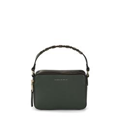 Lampone Small tumbled leather handbag, green