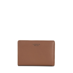 Basic Wallets Medium leather wallet with double opening, brown