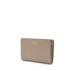 Button Wallets Medium leather wallet with double opening, mud