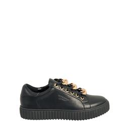 Topolino Sneaker with triple chain on laces, black/gold, 40 EU