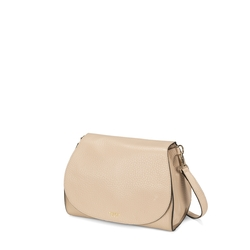 Hansel E Gretel Tumbled leather slouchy bag with flap, powder