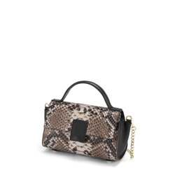 Ghianda Leather handbag with snakeskin print, ice