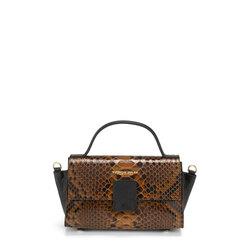 Ghianda Leather handbag with snakeskin print, leather