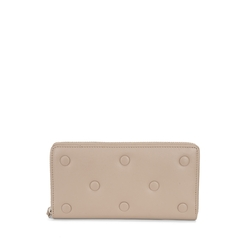 Button Wallets Large leather wallet with quilted logo, mud