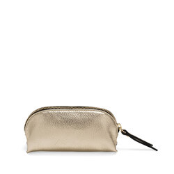 Trilly Tumbled leather make-up bag, gold