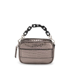 Wonderland Small crossbody bag with crocodile print, gunmetal