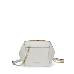 Grimilde Small leather crossbody bag, white
