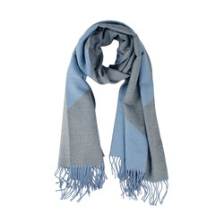 Ranuncolo Two-tone checkered scarf with fringes, avio blue