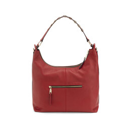Lampone Tumbled leather slouchy bag, dark red