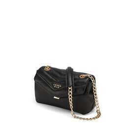 Baghera Small crossbody bag in quilted leather with chain, black