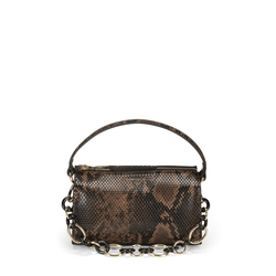 Libro Della Giungla Small crossbody bag with snakeskin print, dark brown