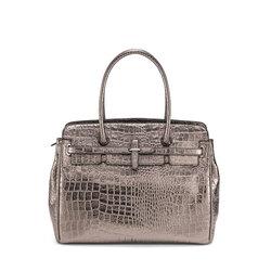 Wonderland Large shoulder bag with crocodile print , gunmetal