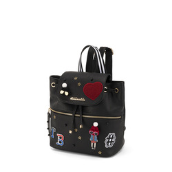 Yale Backpack with appliqués, black