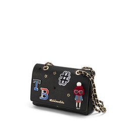 Yale Crossboby bag with appliqués and chain, black