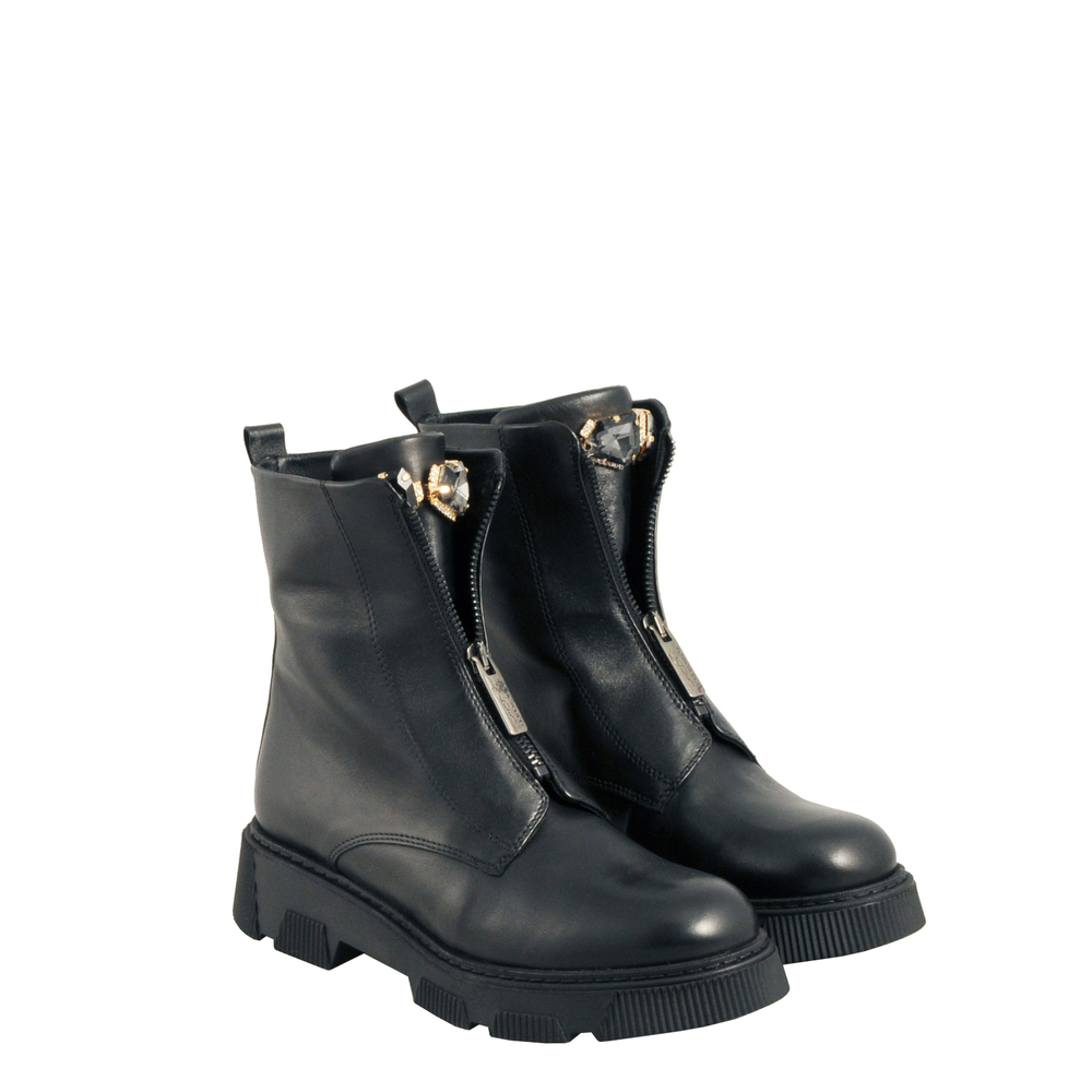 Tosca Blu Studio-Fiaba Biker ankle boot in leather with zip and jewel stones