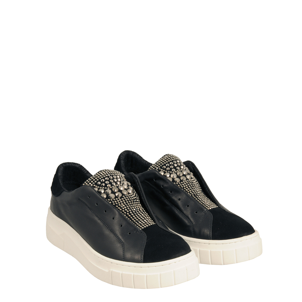 Tosca Blu Studio-Sir Biss Leather slip-on sneaker with jewel details