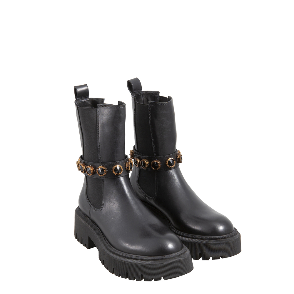 Tosca Blu Studio-Incantesimo Beatles ankle boot in leather with jewel stones