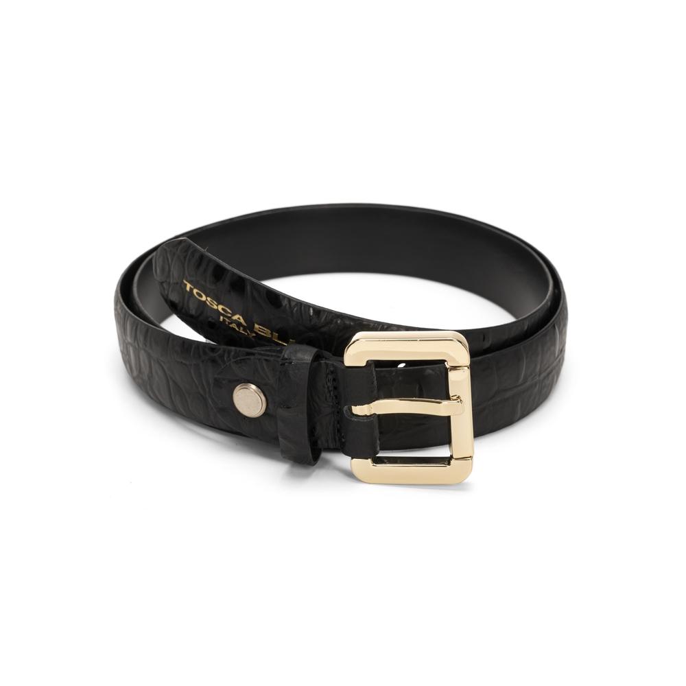 Tosca Blu-Tosca Blu Regular leather belt with crocodile print