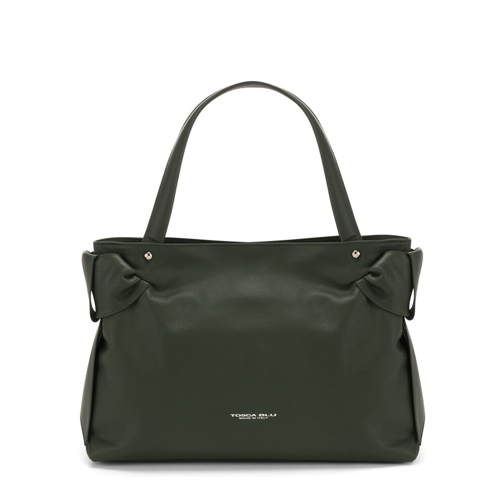 Tosca Blu-Sottobosco Leather tote bag with decorative bows
