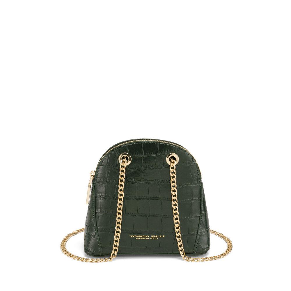 Tosca Blu-Tic-Tac Chain leather crossbody bag with crocodile print