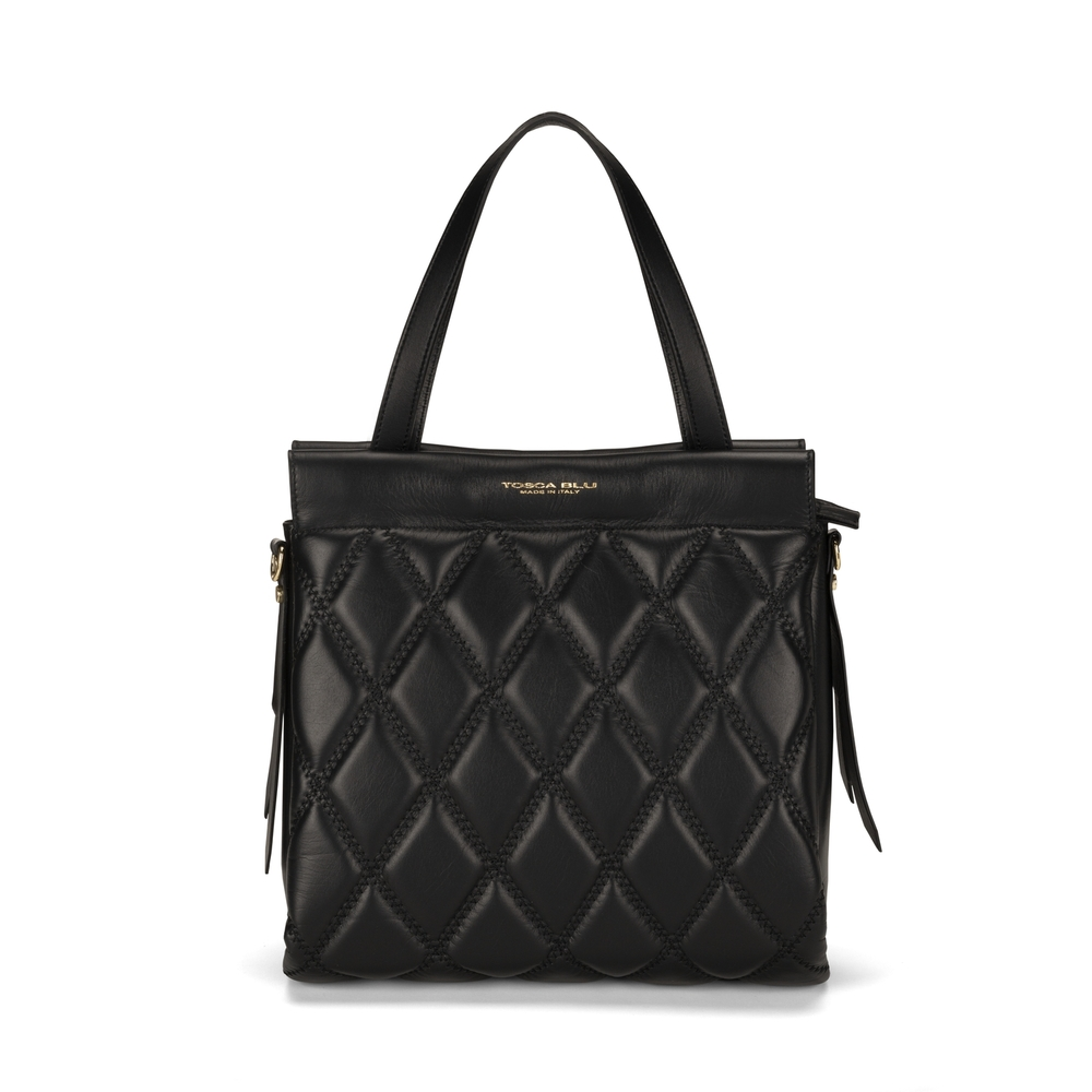 Tosca Blu-Cappuccetto Rosso Quilted leather tote bag