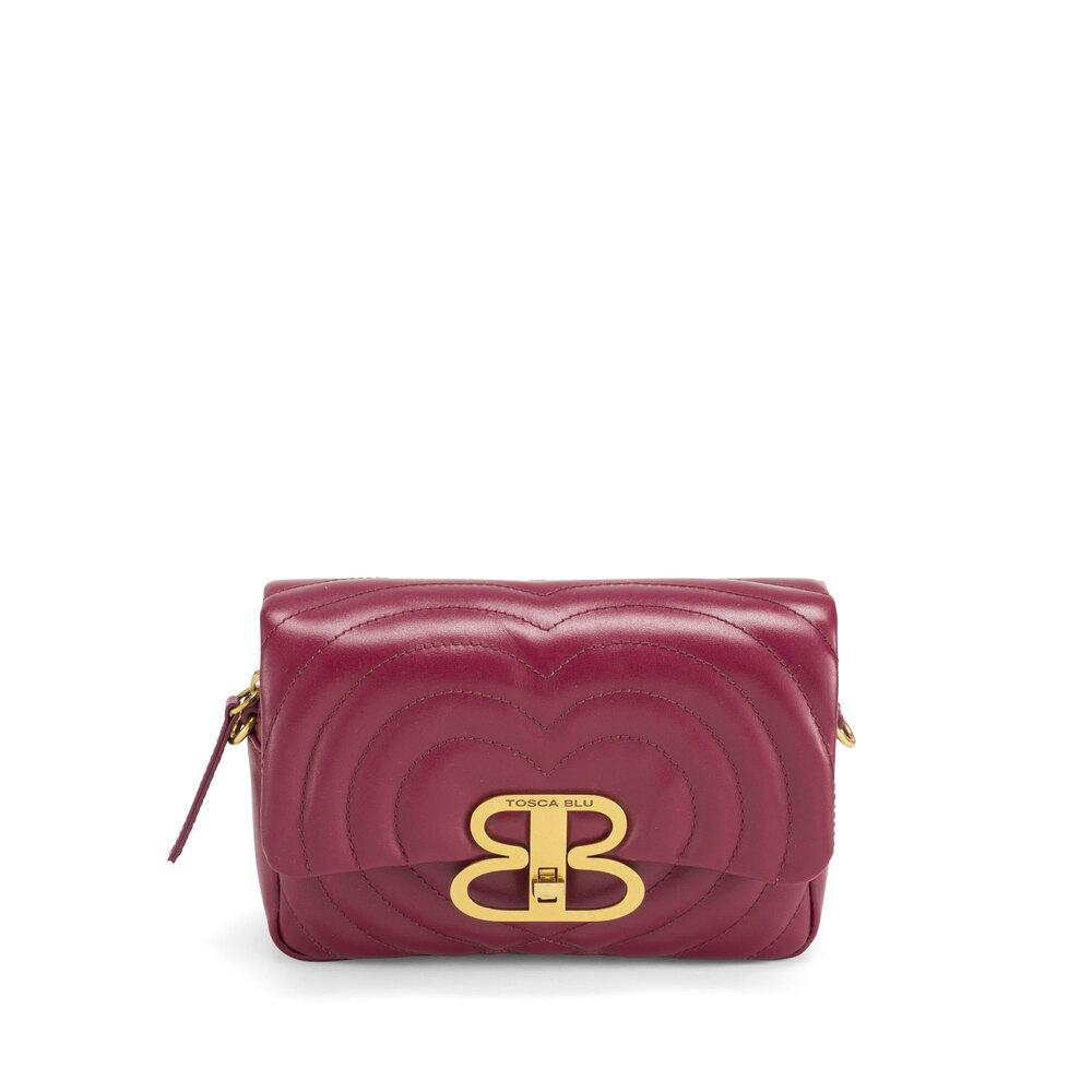 Tosca Blu-Regina Di Cuori Quilted leather crossbody bag with flap