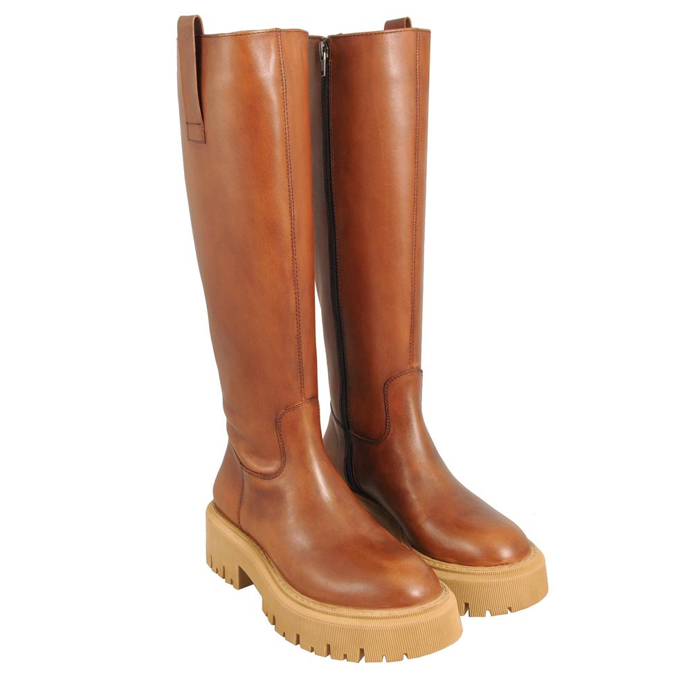 Tosca Blu Studio-Incantesimo Leather boot with coloured rubber sole