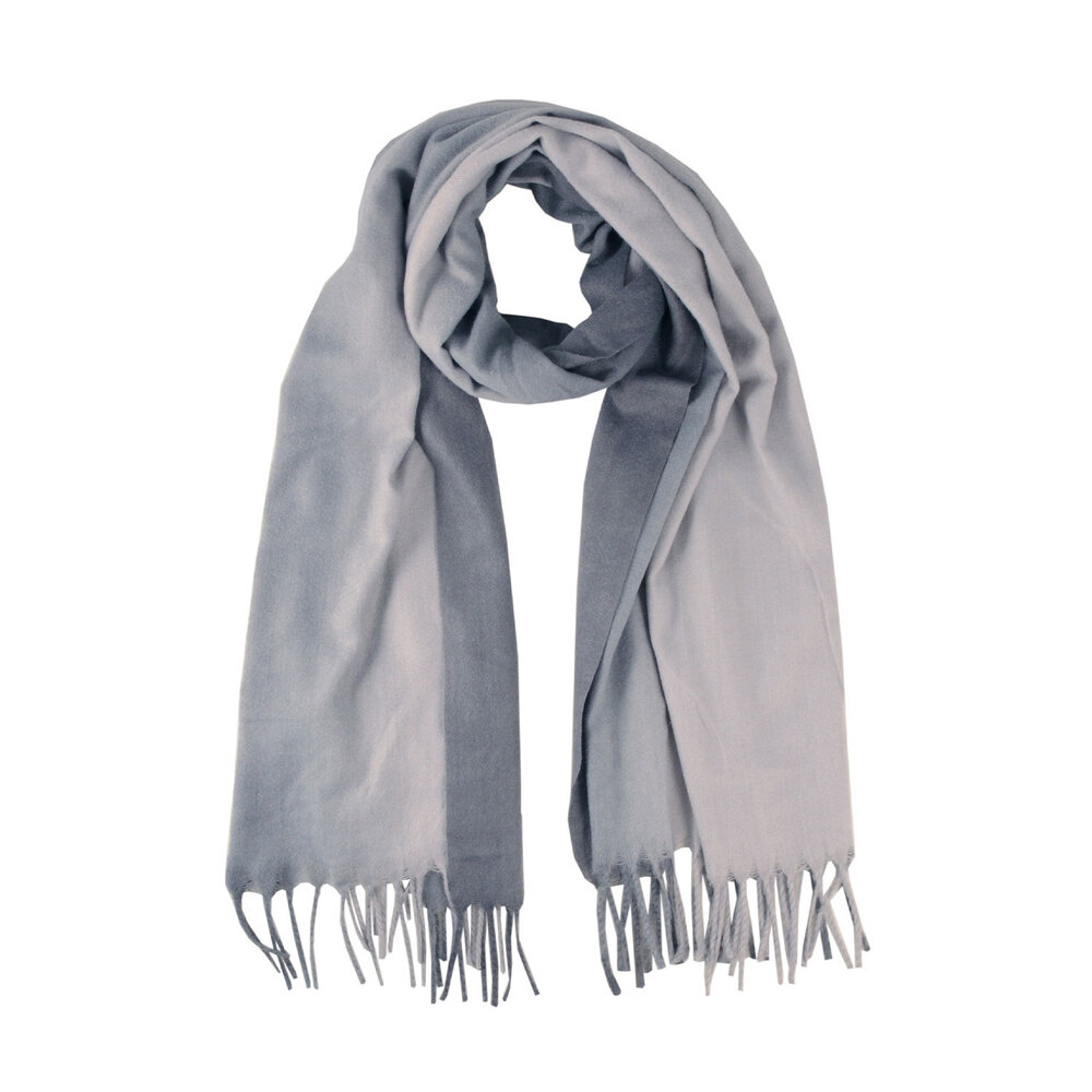Tosca Blu-Erica Two-tone checkered scarf with fringes