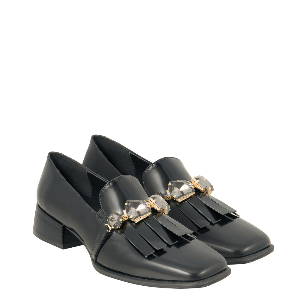Tosca Blu Studio-Baloo Leather loafer with square toe and fringes