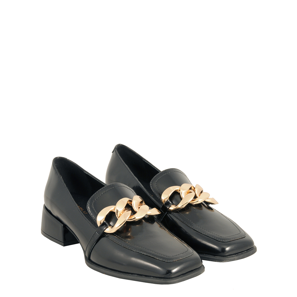 Tosca Blu Studio-Baloo Leather loafer with square toe and chain